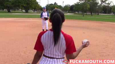 busty baseball babe, the real workout